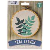 Teal Leaves Embroidery Kit