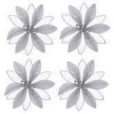 Glitter & Sheer Flower Clip Ornaments