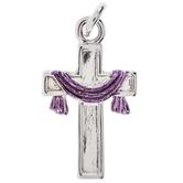 Purple Draped Cross Charm