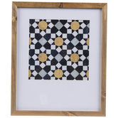 Gold & Navy Geometric Framed Wall Decor