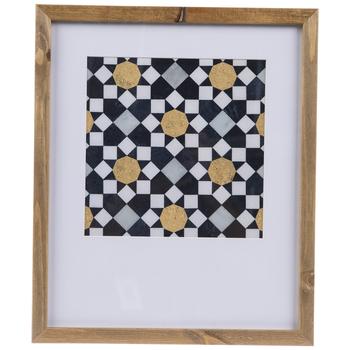 Gold & Navy Geometric Framed Wall Decor