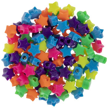 Neon Star Plastic Beads