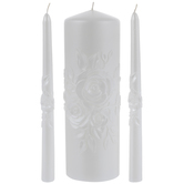 White Pearl Roses Unity Candles