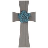 Gray & Blue Flower Wood Wall Cross
