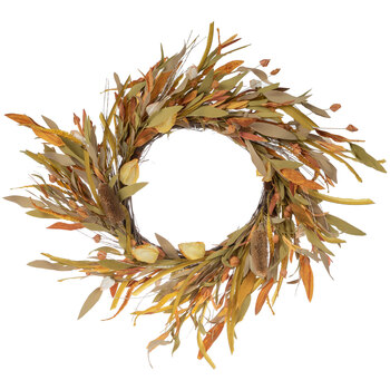 Green, Yellow & Brown Dried Thistle Wreath