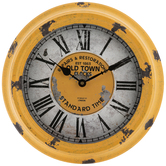 Antique Yellow Metal Wall Clock