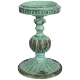 Turquoise Distressed Candle Holder - Large