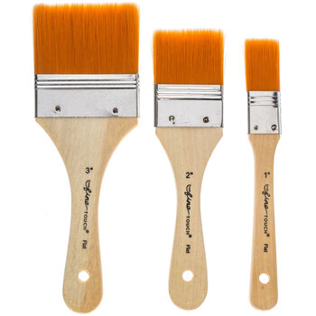Brown Nylon All Purpose Flat Paint Brushes - 3 Piece Set