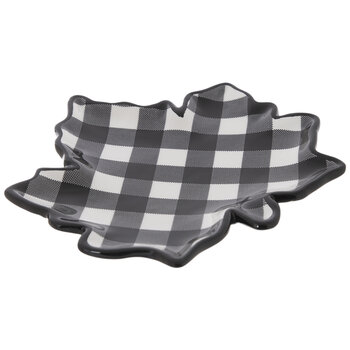 Black & White Buffalo Check Leaf Dish