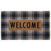 Navy Plaid Welcome Doormat