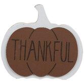Thankful Pumpkin Wood Place Card Holder