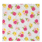 Floral Gift Wrap With Black Dots