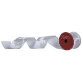 """Silver Glitter Poinsettia Wired Edge Ribbon - 2 1/2"""""""