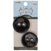 Black Round Coconut Buttons - 34mm