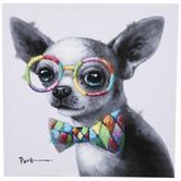 Chihuahua With Glasses Canvas Wall Decor