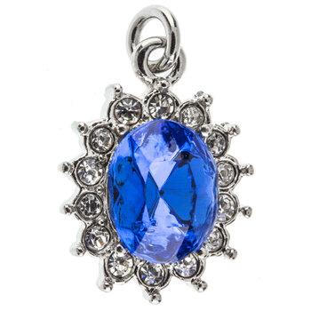 Sapphire Oval Rhinestone Charm