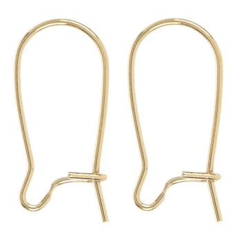18K Plated Gold Kidney Ear Wires - 16mm