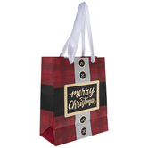 Red Plaid Santa Suit Merry Christmas Gift Bag