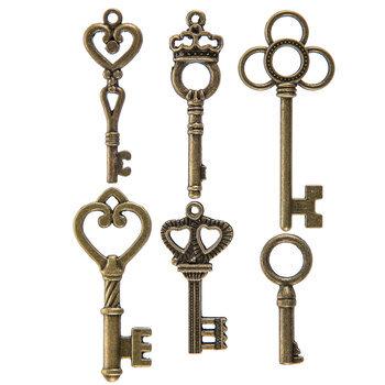 Antique Gold Vintage Key Embellishments