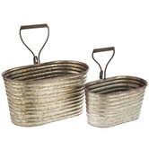 Galvanized Metal Ribbed Oval Container Set