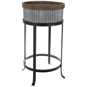 Ridged Galvanized Metal Plant Stand
