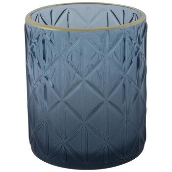 Navy Diamond Pattern Glass Candle Holder