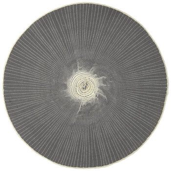 Gray & White Round Woven Placemat
