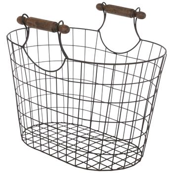 Rustic Oval Mesh Metal Basket