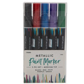 Metallic Medium Tip Paint Markers - 5 Piece Set