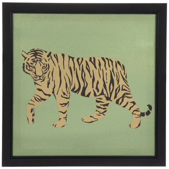 Tiger On Metallic Canvas Wall Decor