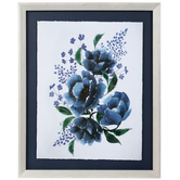 Navy Flowers Framed Wall Decor