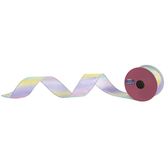 "Rainbow & Silver Polka Dot Wired Edge Ribbon - 1 1/2"""