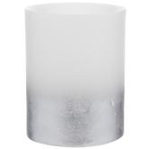 White & Metallic Silver LED Pillar Candle
