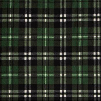 Green Plaid Anti-Pill Fleece Fabric