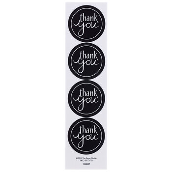 Trendy Black Thank You Envelope Seals