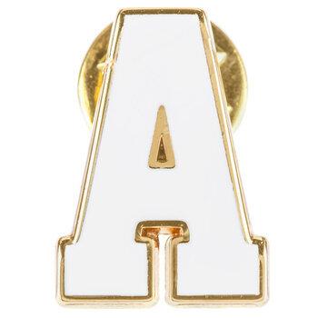 White Letter Metal Pin - A