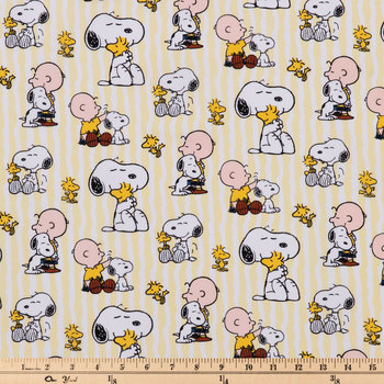 Snoopy Striped Cotton Calico Fabric