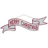 Merry Christmas Banner Metal Wreath Embellishment