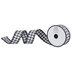 Black & White Gingham Pom Pom Wired Edge Ribbon - 1 1/2