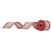 "Red Gingham Striped Burlap Ribbon - 2 1/2"""