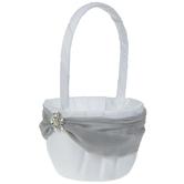 White & Gray Satin Flower Basket