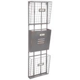 Three-Tiered Rusted Gray Metal Wall Organizer