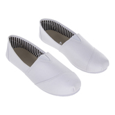 White Canvas Slip-On Ladies' Shoes - Size 6