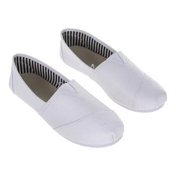 White Canvas Slip-On Ladies' Shoes - Size 6