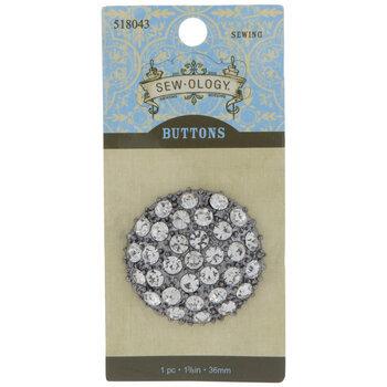 Rhinestone Cluster Round Shank Button - 36mm
