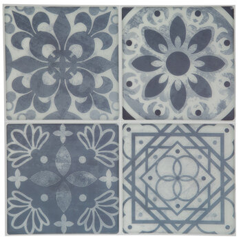 Navy Ornate Tile Adhesive Wall Art