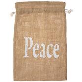 Peace Burlap Drawstring Gift Bag