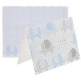 Blue & Gray Plaid Elephants Thank You Cards