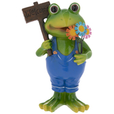Frog With Flowers & Welcome Sign