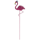 Flower Flamingo Metal Garden Pick